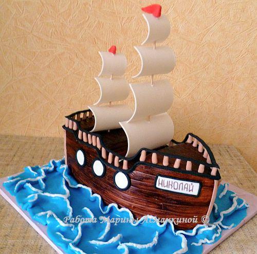 Торт в виде корабля в домашних условиях 4